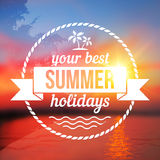 Summer holidays background with text design Royalty Free Stock Photos