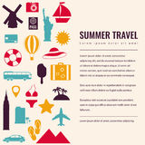 Summer holidays background with travel icons. Vector Stock Images