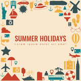 Summer holidays background with travel icons. Vector Stock Image