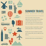 Summer holidays background with travel icons. Vector Stock Photo