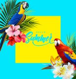 Summer holidays background with tropical flowers with colorful tropical parrots. Lettering Hello summer Template Vector vector illustration