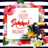 Summer holidays background with tropical flowersand a Toucan. Lettering Enjoy summer holidays Template Vector. Summer holidays background with tropical vector illustration