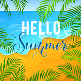Summer Holidays Background with Tropical Seascape and Palm Leaves Royalty Free Stock Photography