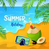 Summer Holidays Background with Tropical Seascape and Palm Leaves Stock Images