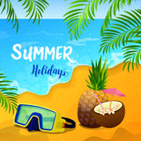 Summer Holidays Background with Tropical Seascape and Palm Leaves Stock Photo