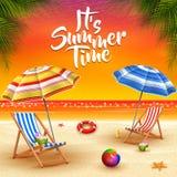Summer holidays background. Umbrellas, desk chair, ball, lifebuoy, sunblock, starfish, and coconut cocktail on a sandy beach vector illustration