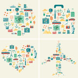 Summer holidays backgrounds collection. Holidays and Vacation concept. Travel icons. Vector Stock Image