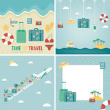 Summer holidays backgrounds collection. Holidays and Vacation concept. Travel icons. Vector Stock Photography