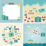 Summer holidays backgrounds collection. Holidays and Vacation concept. Travel icons. Vector Stock Photos
