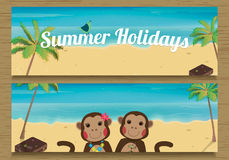 2 Summer Holidays Banner with cute couple Monkeys. Monkey boy and girl. Vector illustration Royalty Free Stock Photos