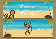 2 Summer Holidays Banner with funny Monkey. Monkey with Banana. Vector illustration. 2 Summer Holidays Banner with funny Monkey. Monkey with Banana. Vector Stock Images
