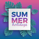 Summer holidays banner with paper cut frame and tropical plants on pink blue gradient background, floral design for banner, flyer vector illustration