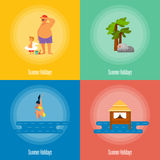 Summer Holidays Banner Set. Beach activities Royalty Free Stock Photo