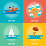 Summer Holidays Banner Set. Beach activities. Royalty Free Stock Photography