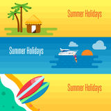 Summer Holidays Banner with Tropical Bungalows Royalty Free Stock Photos