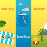 Summer Holidays Banner with Tropical Bungalows Stock Photography