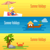 Summer Holidays Banner with Water Bungalows Royalty Free Stock Photos