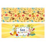 Summer holidays banners set,  templates for ilustration holiday on sea beach. In doodle  style Stock Images