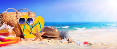 Summer Holidays -Beach Accessories On Seashore Stock Photography