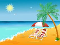Summer holidays beach background poster with chair Royalty Free Stock Images