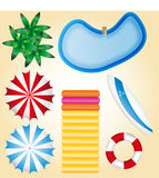 Summer holidays beach elements pool water bed royalty free stock photo