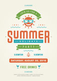 Summer Holidays Beach Party Typography Poster or Flyer Design Stock Photos