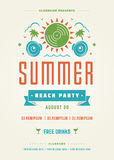 Summer Holidays Beach Party Typography Poster or Flyer Design Stock Image