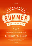 Summer Holidays Beach Party Typography Poster or Flyer Design Royalty Free Stock Images
