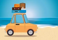 Summer holidays beach scene. Vector illustration design stock illustration