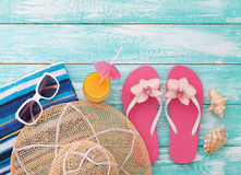 Summer Holidays. Beachwear on wooden background. Summer Holidays in Beach Seashore. Beachwear on wooden background. Vacation at sea royalty free stock photos