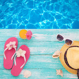 Summer Holidays. Beachwear on wooden background. Summer Holidays in Beach Seashore. Beachwear on wooden background. Vacation at sea Stock Photography