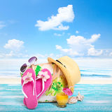 Summer Holidays. Beachwear on wooden background Stock Images