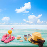 Summer Holidays. Beachwear on wooden background Stock Image