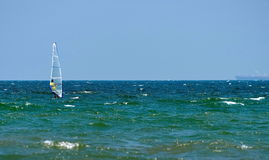 Seascape with windsurfing on the Black Sea, landmark attraction in Romania. Waves show. Summer, sea, sun, blue sky, holiday, fun Stock Photography