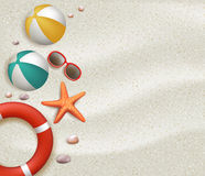 Summer Holidays Blank Background in the White Beach Sand Royalty Free Illustration