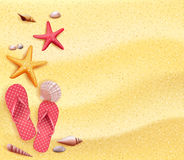 Summer Holidays Blank Background in the Yellow Beach Sand Vector Illustration