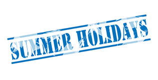 Summer holidays blue stamp. Isolated on white background Royalty Free Stock Images
