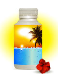Summer holidays in a bottle background Royalty Free Stock Photos
