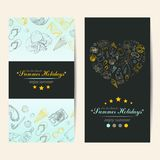Summer Holidays cards with beach elements. Vector illustration for your design royalty free illustration