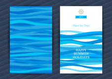 Summer Holidays cards with sea elements. Bright Summer Holidays cards with sea elements. Sea pattern with blue waves. Place for your text. Template frame design royalty free illustration