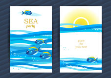 Summer Holidays cards with sea elements. Bright Summer Holidays cards with sea elements. Sea pattern with fish and waves. Place for your text. Template frame stock illustration