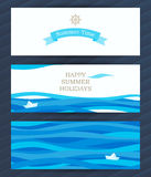 Summer Holidays cards with sea elements. Bright Summer Holidays cards with sea elements. Sea pattern with paper boat and waves. Place for your text. Template vector illustration