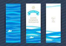 Summer Holidays cards with sea elements. Stock Photo