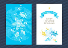 Summer Holidays cards with sea elements. Bright Summer Holidays cards with sea elements. Sea pattern with seashells and starfish. Place for your text. Template vector illustration