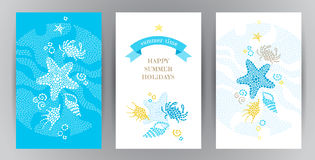 Summer Holidays cards with sea elements. Bright Summer Holidays cards with sea elements. Sea pattern with seashells and starfish. Place for your text. Template royalty free illustration