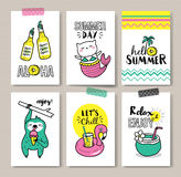 Summer holidays cards. Set of fun summer holidays cards royalty free illustration