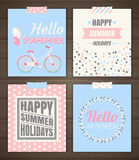 Summer holidays cards. Vector set of summer cards royalty free illustration