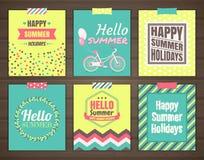Summer holidays cards. Vector set of six bright summer cards Stock Photos