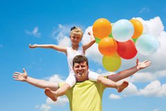 Summer holidays, celebration, children and people concept - fami Royalty Free Stock Photos