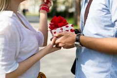 Summer holidays, celebration and dating concept - happy couple. With colorful balloons stock image